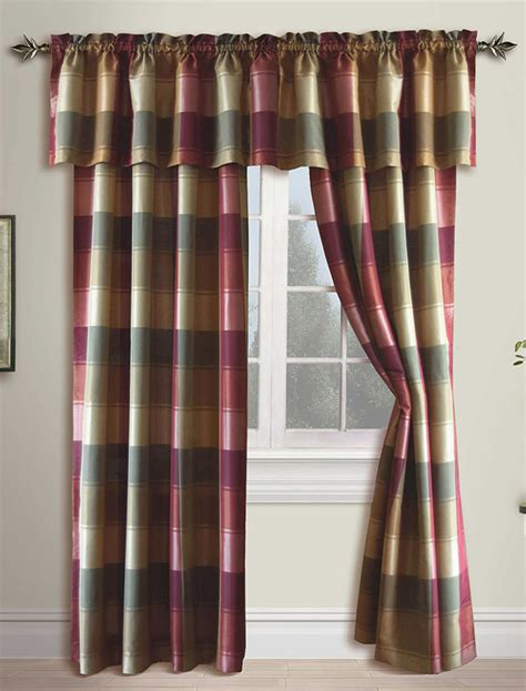 Plaid Curtains And Drapes - plaid country panel burgundy united curtains draperies
