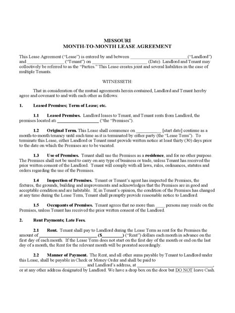 missouri rent  lease template  templates