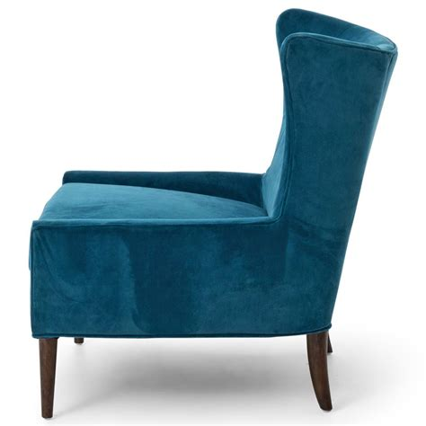 modern classic peacock blue velvet wing lounge chair