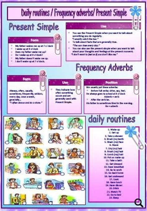 daily routines present simple frequency adverbs