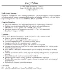 Fedex Resume by Material Handler Resume Description Handler Resumes