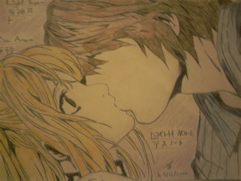 Anime Kiss Death Note Misa Light Yagami Kissing Death Note Manga Drawing By