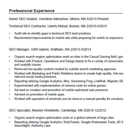 Seo Resume by 7 Seo Resume Templates Sles Exles Format