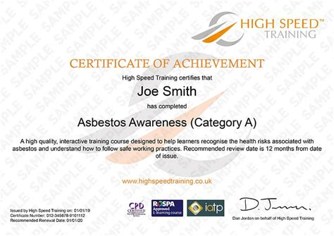 asbestos awareness  fully certified instant
