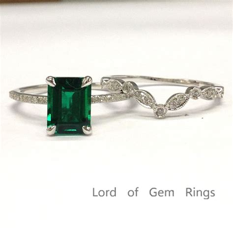 emerald shaped emerald engagement ring sets pave