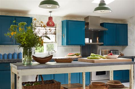 Peacock Blue Cabinets  Eclectic  Kitchen  Kristen