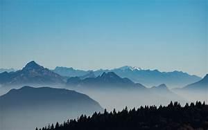 Mountains, 4k, Wallpaper, Foggy, Morning, Serene, Clear, Sky