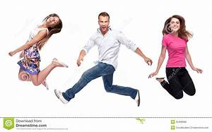Group Of Happy Young People Jumping Stock Photo - Image ...