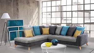 canap gris bleu amazing canap places en tissu grisbleu n With tapis jaune avec canapé assise peu profonde
