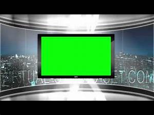 HD Virtual TV Studio News Set With City Skyline In The