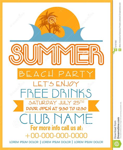 invitation card design  summer beach party stock