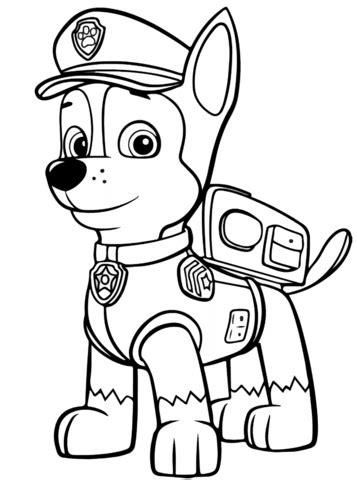 disegno  paw patrol chase da colorare disegni da colorare  stampare gratis