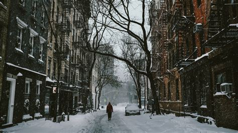 winter street city snow trees road wallpapers hd