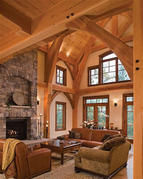 Lake Cabin Decor by Timber Treasure Timber Frame Home Great Room A Photo
