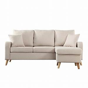 Mid century modern linen fabric small space sectional sofa for Buy sectional sofa online usa