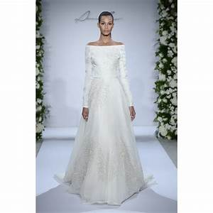 sweep a line off the shoulder long sleeve satin and With off the shoulder long sleeve wedding dress