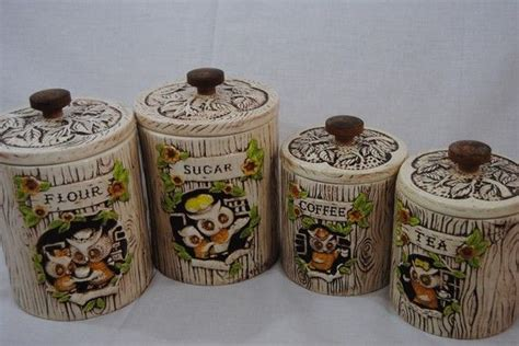 Kitchen Craft Treasures by Adorable Treasure Craft Owl Kitchen Canisters Set Of 4