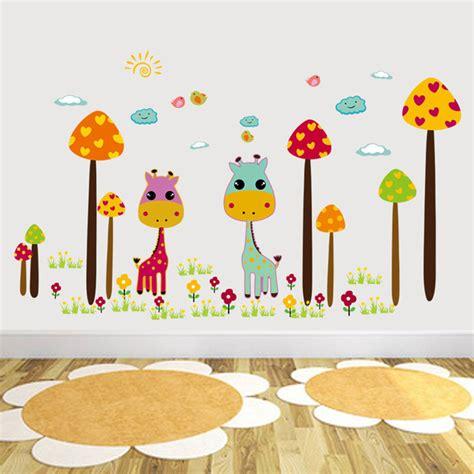 cute cartoon mushroom forest wall stickers fawn childrens