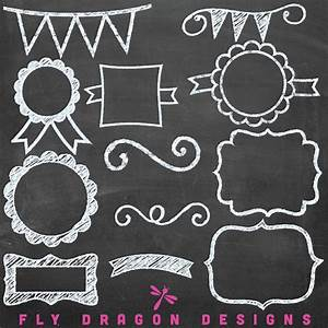 Chalk Chalkboard Clip Art Banners Frames Tags Labels Overlays