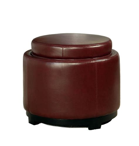 round ottoman with tray abbyson living manhattan burgundy bicast leather round