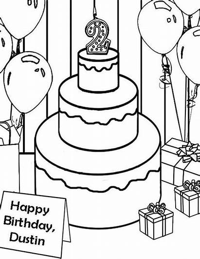 Coloring Birthday Pages Cake Personalized Happy Sweet