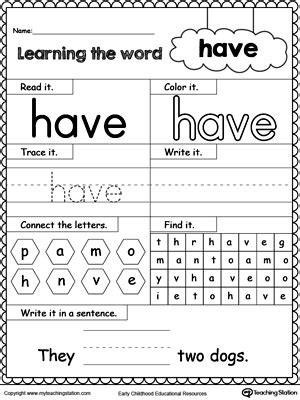 learning sight word myteachingstation