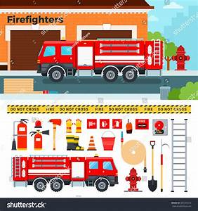Fireengine Vector Flat Illustrations Firefighters Truck