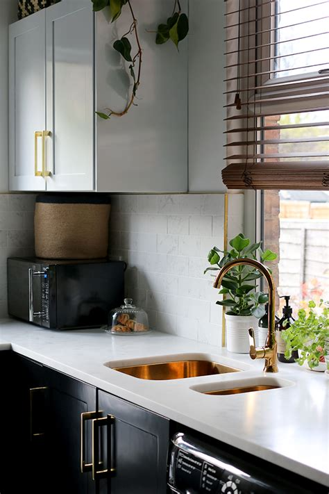 reveal   black white  gold kitchen swoon worthy