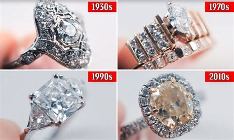 how diamond engagement ring trends have evolved over the last 100 years daily mail online