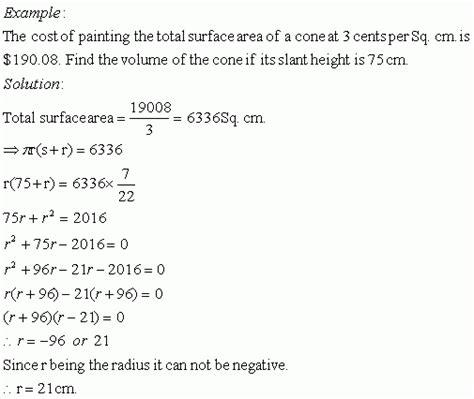 word problems on cone ii high school mathematics
