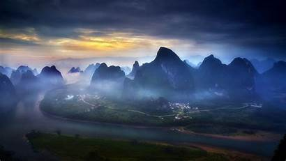 Guilin China Mountain River Landscape Nature Mist