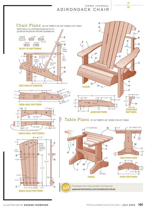 pdf diy adirondack chair plans with table