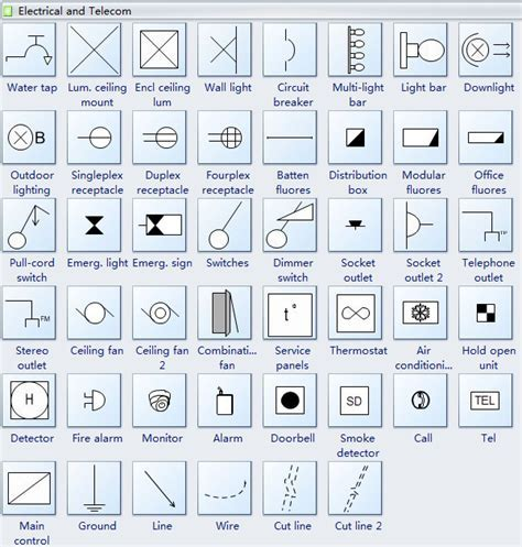 Reflected Ceiling Plan Symbols Electrical Telecom   #