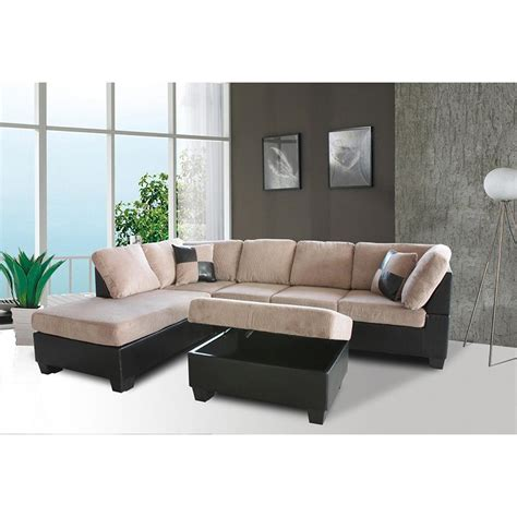 Sears Grey Sectional Sofa by Venetian Worldwide Saddle Brown Sectional Sofa W