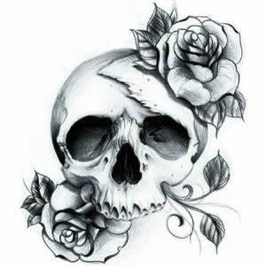 Dessin Tete De Mort Avec Rose : tatouage temporaire black skull 8 cm t te de mort aux roses ~ Melissatoandfro.com Idées de Décoration