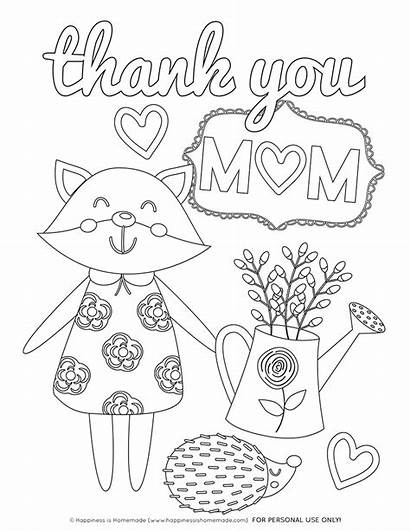 Coloring Pages Mom Thank Mother Mothers Printables