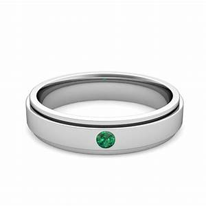 solitaire emerald mens wedding ring in 14k gold comfort With emerald wedding band rings