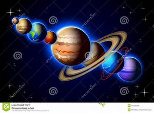 Solar System In One Line Stock Illustration - Image: 54255298