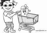 Grocery Coloring Shopping Pages Store Cart Drawing Gang List Colouring Sketch Template Sadie Sophie Getdrawings sketch template
