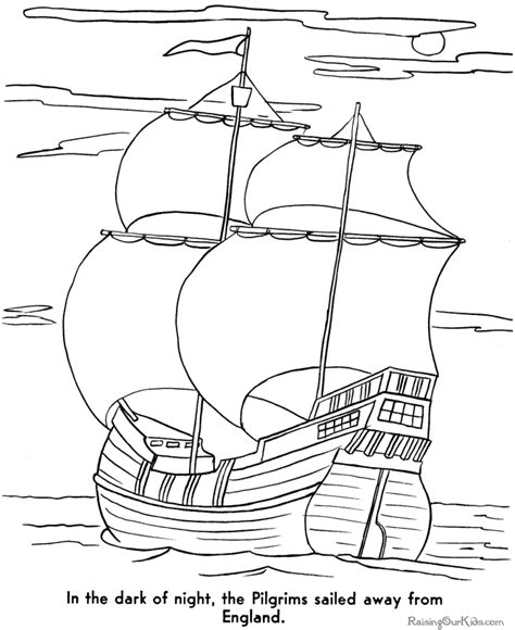 How To Draw A Pilgrim Boat by Mayflower Coloring Pages 003
