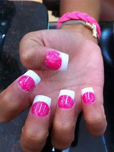 Sola nail hot pink and white tip | Clear nail design ...