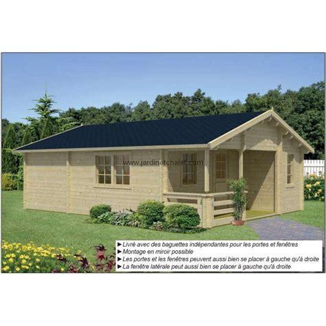 chalet en bois habitable en kit 40m2 70mm vitrage prix