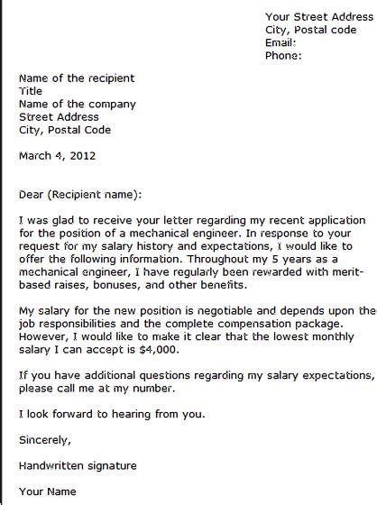 salary email expectations writing write requirements letter satisfying requirement important offer job step getting