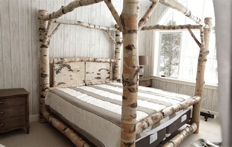 birch log canopy bed  scribed joinery rustic