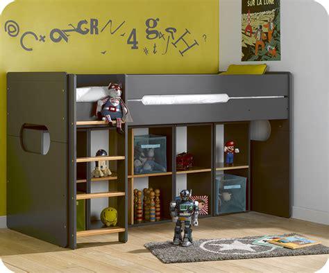 coffre de rangement chambre lit enfant mi hauteur spark gris et hêtre naturel 90x200
