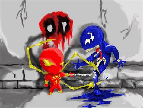 Iron Spidey Vs Venom Colored By Stablehalf On Deviantart