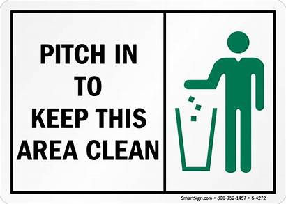 Pitch Clean Keep Area Sign Trash Signs