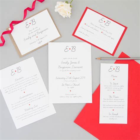 red heart wedding invitation full sample set    wagtails notonthehighstreetcom