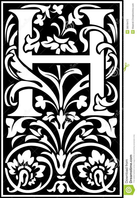 flowers decorative letter  balck  white stock vector illustration  beautiful graphic