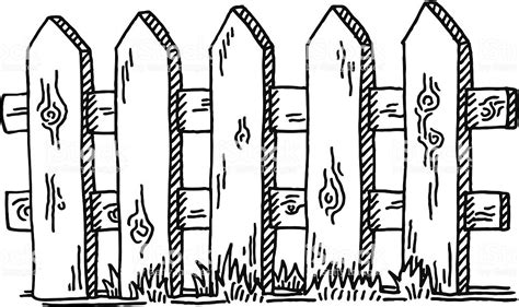 Wooden Fence Drawing Stock Vector Art & More Images Of